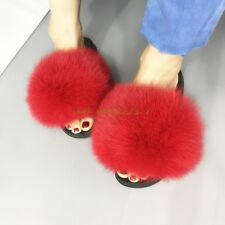 Luxury Real Fox/Raccoon Fur Women Slippers Shoes Flat Slides Sandal Candy colors