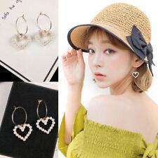 Women Korean Circle Hoop Heart Pearl Drop Dangle Party Earrings Jewelry Gift