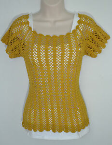 Gorg Vtg 70s Goldworm Label Pale Yellow Beige Knit Top Blouse Sleeveless S Excellent Condition