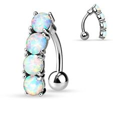 Opal Prong Set 316L Surgical Steel Belly Button Ring Navel Basic Non Dangle