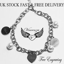 Personalised Heart 3 Charms Disc Pearl Engraved Name Silver Bracelet Mother Gift