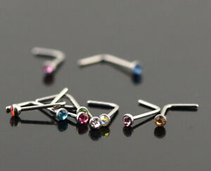 Stainless Steel L Shape Nose Hook Studs. Choice of Colour. 0.8mm New Colours!