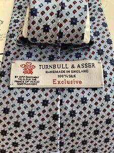 Turnbull & Asser Light Blue Geometric Print Silk Tie - NEW