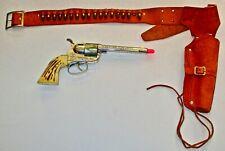 Vintage  Mattel FANNER 50 CAP GUN with LEATHER HOLSTER & 17 BULLETS