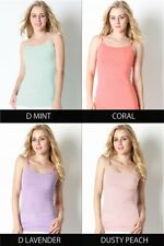 Women Long Cami Adjustable Strap Stretchy No Bra Tunic Cotton Tank Top ST-5000