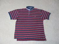 VINTAGE Tommy Hilfiger Polo Shirt Adult Medium Red Blue Striped Crest Mens 90s *