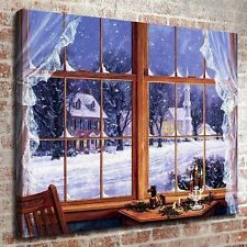 "Out of the window Christmas 12""*16"" HD Print on canvas Home Decor Wall Pictures"