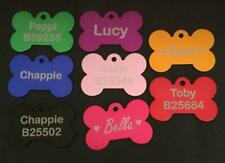 Personalised Laser Engraved Bone Pet ID Name Tags Dog Puppy Cat + Split Ring