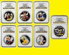 2014 DISNEY CHARACTERS 6 SILVER SET+1 MICKEY&MINNIE NGC PF 70 UC  MINT BOX COA