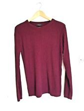 River Island Mens Jumper Red Burgundy Ribbed Size Large Crew Neck Long Sleeve