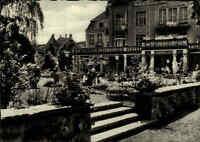 BAD SALZSCHLIRF Hessen 1962 Bedarfs-AK s/w Ansicht Kaffee-Terrasse am Badehof