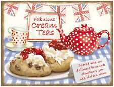 New 30x40cm Fabulous Cream Teas retro large metal advertising wall sign