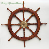 """Small 18.5"""" Boat Ship Wooden Steering Wheel Bronzed Center Nautical Wall Decor"""