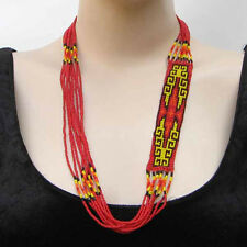 NATIVE STYLE RED YELLOW BEADED NECKLACE LONG LAYERED SIGN OF DESERT BEAD WORK