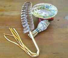 Smudge Kit w/ Small Sage, Abalone Shell, Stand, Prayer Feather | Earth Maidens