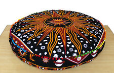 Mandala Yellow Burning Sun 35'' Round Floor Pillow Cover Ottoman Pouf Seating