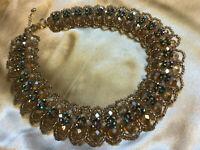 VINTAGE Blue Carnival Rainbow Aurora Borealis Cleopatra Collier Necklace #3