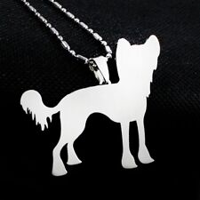 Stainless Steel Chinese Crested Puff Powderpuff Pet Dog Collar Tag Charm Pendant