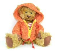 "Hermann Teddy Collection 14"" Tall Teddy Bear with Orange Zip Up Hoodie"