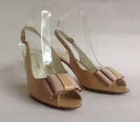 "Russell & Bromley Open Shoe Sandal Nude Patent Leather Slingback 3"" Heel UK 4.5"