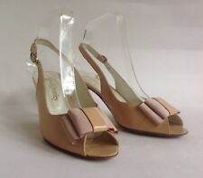 """Russell & Bromley Open Shoe Sandal Nude Patent Leather Slingback 3"""" Heel UK 4.5"""
