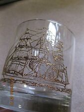 Set of 6- 1960's Vintage Glass Tumbler w/Gold 3 Masted Ship..10 oz.  VERY NICE!!