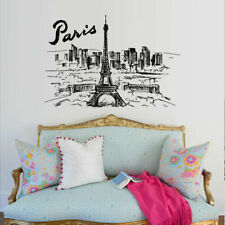 Wall Decal Sticker Skyline Town Paris France Eiffel Tower inscription M1565