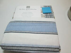 Home Wear  Yarn-Dyed Collection BONGO Blue, Black & White Stripe Shower Curtain