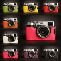 Genuine Real Leather Half Camera Case bag Cover for FUJIFILM X100T 8 colors