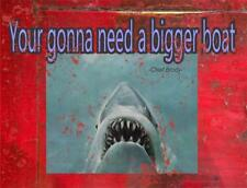 PRIMITIVE DISTRESS COUNTRY WOOD SIGN PRINT - MAN CAVE - JAWS
