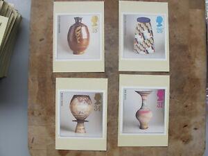 1987 GB PHQ Cards / Postcard  set - Studio Pottery / Ceramics