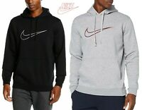 Men's Nike Logo Fleece Hoodie Sweatshirt Top Black & Grey Melange 804656