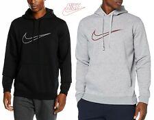 Men's Nike Logo Fleece Hoodie Sweatshirt Top Black & Grey Melange 804656