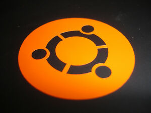 Ubuntu Logo Vinyl Sticker (Small) - Laptop, Tech, Linux, Tux - (Orange)