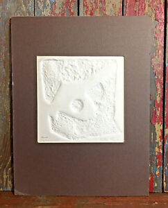 Signed Lila Ryan 1970s Original Small Embossed Paper MCM Abstract Aero Dynamics