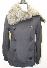 Le Chateau Women Winter Jacket Wool Blend XXS Removable Fur Collar Black Snow