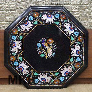 side end table pietra dura floral mosaic black marble