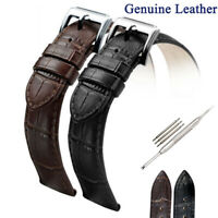 New Black Brown Genuine Leather Watch Band Strap Belt Stainless Steel Pin Clasp