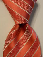 ITALO FERRETTI Men's 100% Silk Necktie ITALY Luxury STRIPED Pink/Red/White EUC