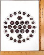 Card of 35 ANTIQUE BUTTONS, Assorted BLACK GLASS w/ Pink & Silver Luster, SUPERB