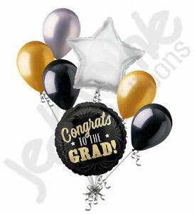 7 pc Congrats to the Grad Gold Balloon Bouquet Happy Graduation Congratulations