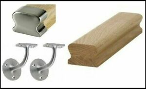 Wall LHR Handrail Oak & Brushed Fittings Handrail Kit Quality Uk Manufactured!