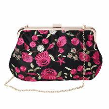 Black with Pink Flower Pattern Polyester Clutch Bag Shoulder Strap Handbag Bag