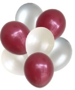 7 High Quality Balloons Maroon, Pearl White, and Silver Balloon Bouquet