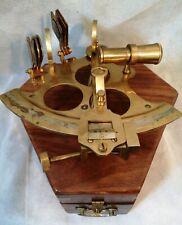 VINTAGE Nautical Brass Sextant Maritime Navigation Ships Marine Instrument & Box
