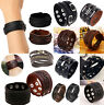 CH Punk Cool Men Womens Wide Genuine Leather Belt Bracelet Cuff Wristband Bangle