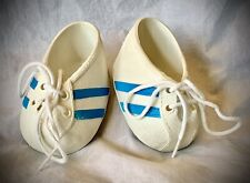 Vintage Cabbage Patch Kids Shoes - White Sneakers with Blue Stripes and Laces