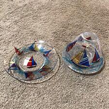YANKEE Candle Jar Topper Crackled Glass Shade & Plate Nautical SailBoats HTF