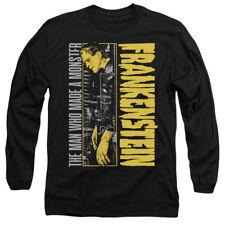 Frankenstein Long Sleeve T-Shirt Made a Monster Black Tee