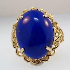 9Carat Yellow Gold Lapis Lazuli Solitaire Ring (Size U 1/2) 20x23mm Head